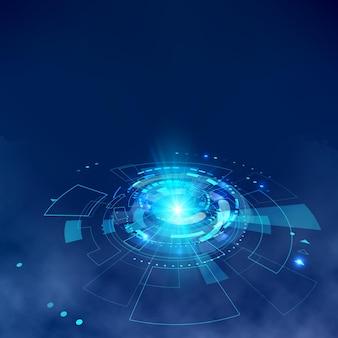 Futurystyczne elementy hud z efektem mgły. hologram ui elementy wirtualnej rzeczywistości. sci-fi futurystyczny interfejs użytkownika. streszczenie koło hi-tech. ilustracja wektorowa
