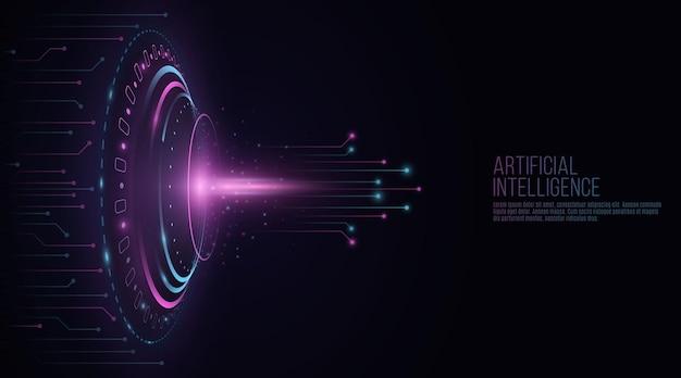 Futurystyczne elementy interfejsu hud ze świecącą płytką drukowaną komputera.