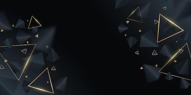 Futurystyczne, geometryczne tło. czarne i złote trójkąty 3d. nowoczesny projekt szablonu, okładki, banera, broszury. dekoracyjne, wielokątne kształty z rozmyciem. ilustracja wektorowa. eps 10