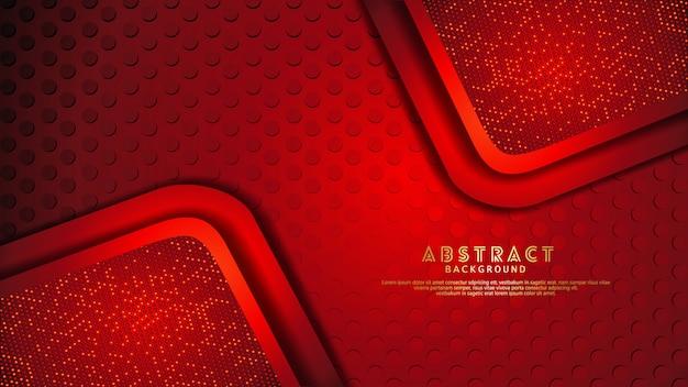 Futurystyczne i dynamiczne ciemnoczerwone warstwy nakładają się na siebie z efektem blasku. realistyczny wzór kropek na teksturowanym ciemnym tle