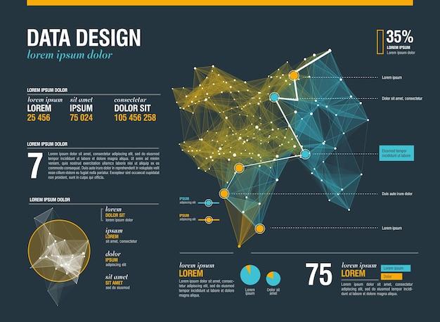 Futurystyczne infografiki ze złożoną grafiką wątków danych
