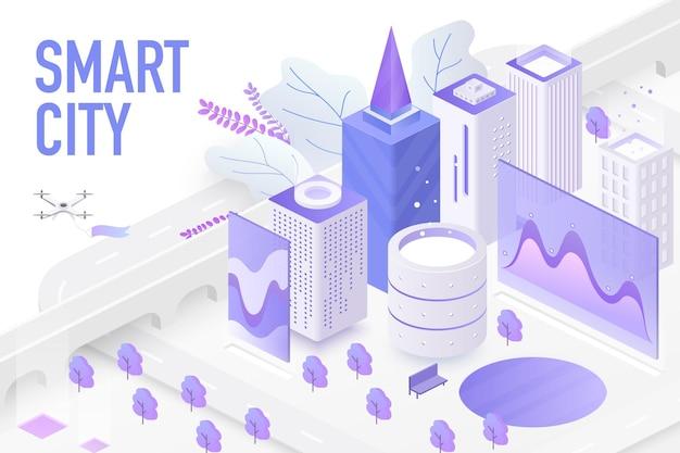 Futurystyczne inteligentne miasto, urządzenia technologiczne zautomatyzowane systemy sterowania koncepcja ekranu wykresu