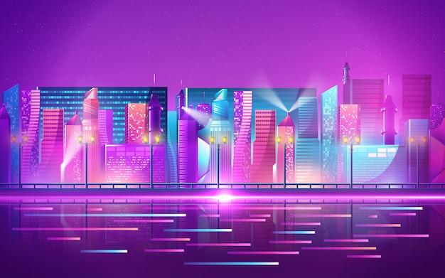 Futurystyczne miasto nocą. gród na ciemnym tle z jasnymi i świecącymi neonowymi fioletowymi i niebieskimi światłami
