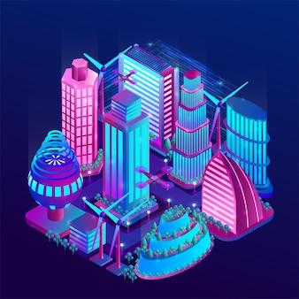 Futurystyczne nocne miasto oświetlone neonami w stylu izometrycznym.