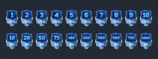 Futurystyczne odznaki z numerem poziomu i punktami doświadczenia do projektowania interfejsu użytkownika gry wektorowe ikony kreskówek...