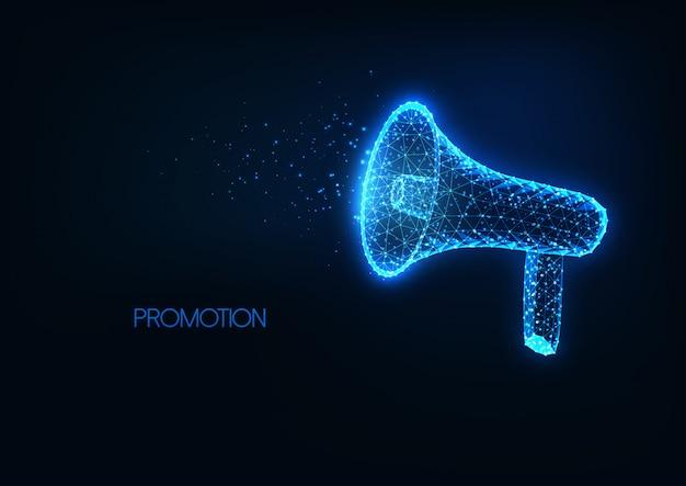 Futurystyczne ogłoszenie, promocja, reklama ze świecącym niskim wielokątnym megafonem