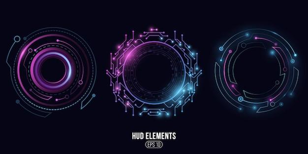 Futurystyczne okrągłe świecące elementy hud. wyświetlacz deski rozdzielczej.