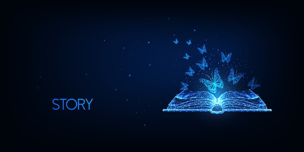 Futurystyczne opowiadanie historii, koncepcja czytania literatury ze świecącą niską wielokątną otwartą książką i latającymi motylami na ciemnym niebieskim tle. nowoczesna siatka druciana.