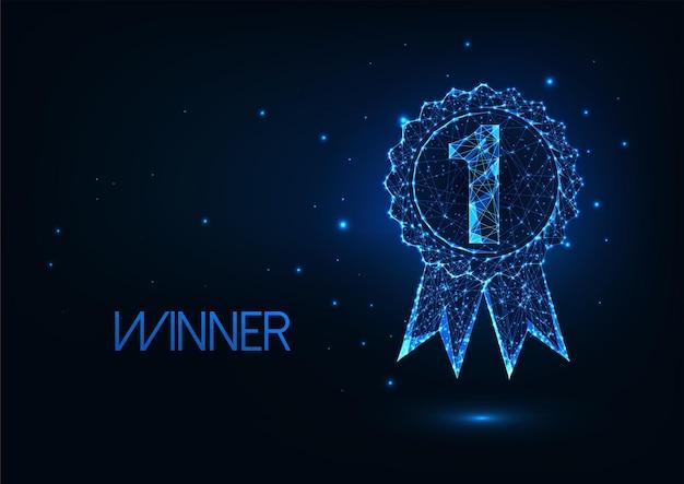 Futurystyczne pierwsze miejsce, koncepcja odznaki zwycięzcy ze świecącym niskim wielokątnym medalem i numerem 1.
