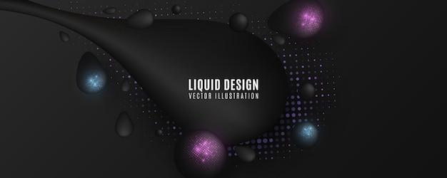 Futurystyczne płynne kształty z brokatowymi półtonami. krople z błyszczącym efektem półtonów. płynne elementy faliste.