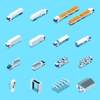 Futurystyczne pojazdy elektryczne izometryczny ikony