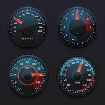 Futurystyczne prędkościomierze samochodowe, wskaźniki prędkości ze wskaźnikiem do tablicy rozdzielczej pojazdu na białym tle wektor zestaw. ilustracja prędkościomierz na desce rozdzielczej, wskaźnik pomiaru prędkości
