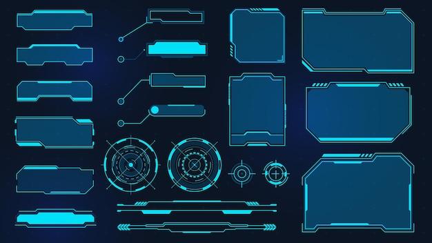 Futurystyczne ramki. cyberpunkowy kwadratowy ekran hud, objaśnienie, tytuł i radar. cyfrowa skrzynka informacyjna i panel interfejsu użytkownika sci-fi. zestaw wektorów wirtualnego interfejsu z panelami i oknem hologramu lub wyświetlaczem