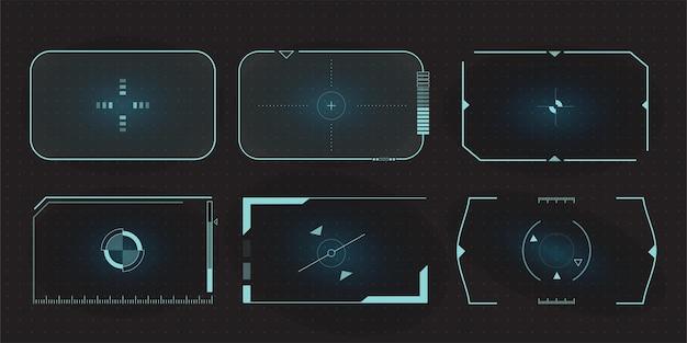 Futurystyczne ramki hud celują w ekran i graniczny panel sterowania celowaniem. zestaw elementów ekranu sci fi.