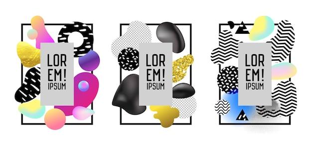 Futurystyczne ramki z abstrakcyjnymi geometrycznymi elementami płynu. nowoczesna grafika artystyczna na ulotki, plakaty, banery, afisze, broszury z miejscem na tekst. ilustracja wektorowa