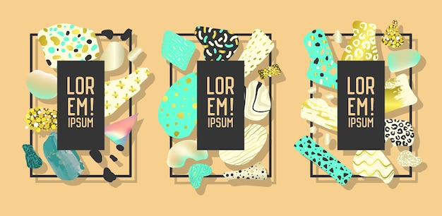 Futurystyczne ramki z abstrakcyjnymi geometrycznymi złotymi elementami. nowoczesna grafika artystyczna na ulotki, plakaty, banery, afisze, broszury z miejscem na tekst. ilustracja wektorowa