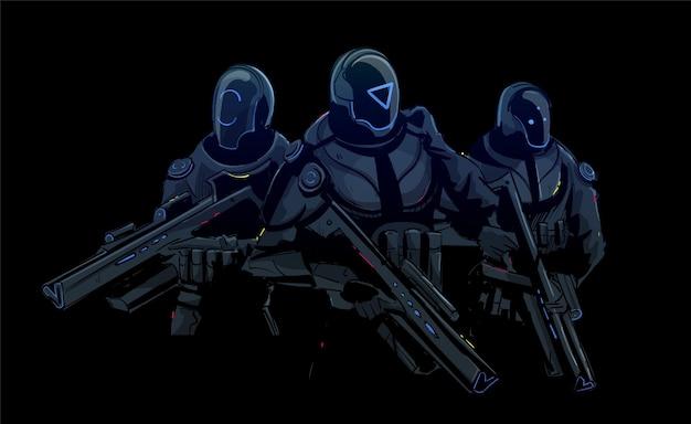 Futurystyczne siły specjalne sky-fi, uzbrojeni żołnierze armii
