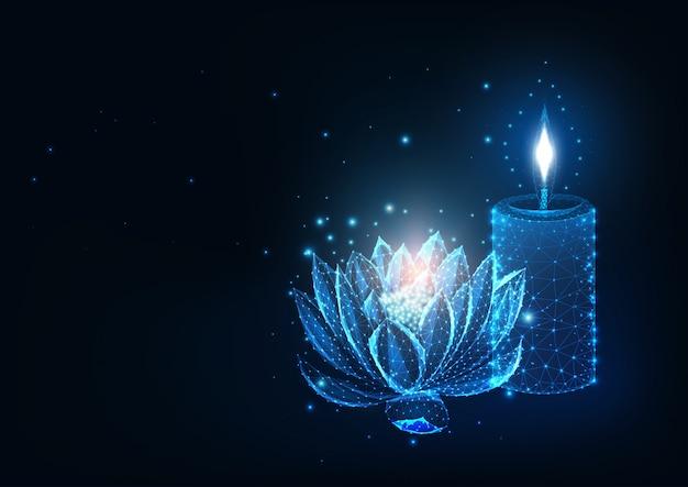 Futurystyczne spa, koncepcja relaksu ze świecącym niskim wielokątnym kwiatem lotosu i płonącą świecą