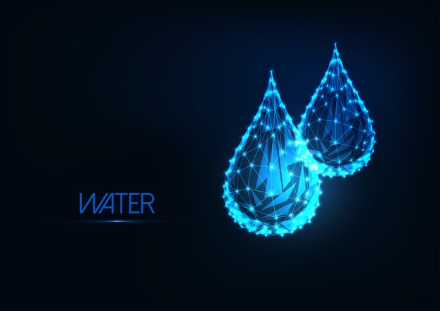 Futurystyczne świecące niskie wielokątne krople wody na białym tle na ciemnym niebieskim tle.
