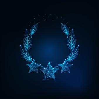 Futurystyczne świecące niskie wielokątne trzy gwiazdki i wieniec laurowy