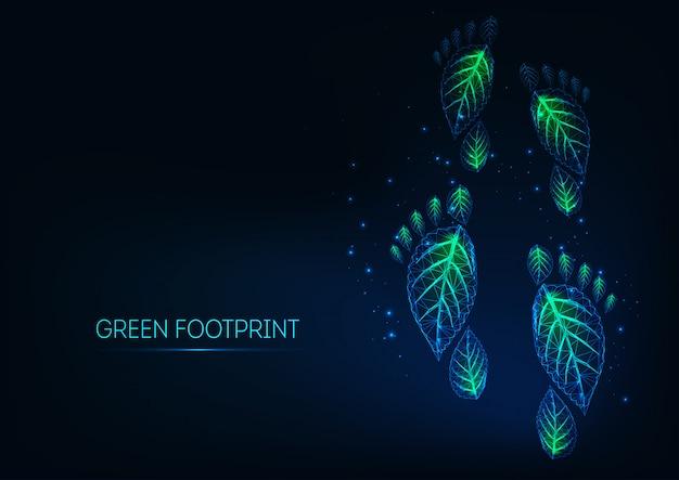 Futurystyczne świecące niskie wielokąty zielone ślady ekologiczne wykonane z liści na ciemnym niebieskim tle.