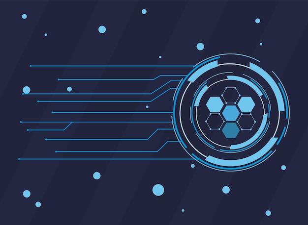 Futurystyczne tło ciemnoniebieskie z technologią cząsteczek, wielokątnymi kształtami i liniami