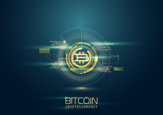 Futurystyczne tło cyfrowe z bitcoinami. koncepcja kryptowaluty.