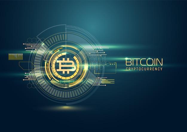 Futurystyczne tło cyfrowe z bitcoinem