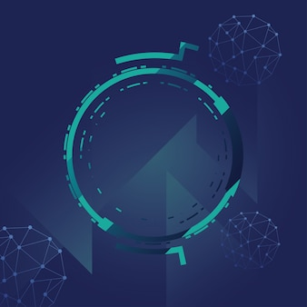 Futurystyczne tło z technologią cząsteczek, wielokątnymi kształtami i okrągłą ramką