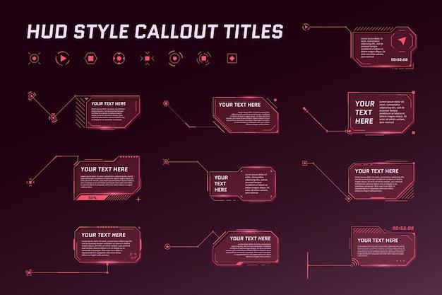 Futurystyczne tytuły objaśnień w hud. wywołanie informacyjne paski ze strzałkami w polu i nowoczesne cyfrowe szablony układu czerwonej ramki informacji. zestaw elementów interfejsu użytkownika i gui. ilustracja wektorowa