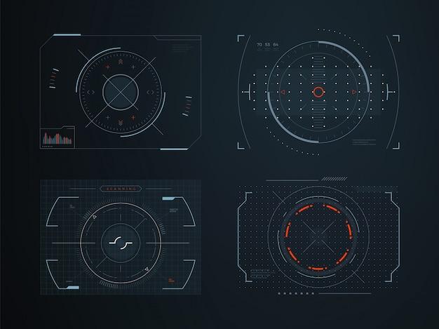 Futurystyczne wirtualne panele sterowania hud. hologram dotykowy ekran zaawansowanych technologicznie wektorowy projekt