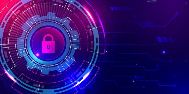 Futurystycznej ochrony abstrakcjonistycznej technologii cyfrowy tło z błękitnym purpurowym światłem