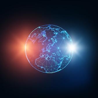 Futurystycznie świecąca niska wielokątna mapa globu ziemia z czerwonymi i niebieskimi gwiazdami lub ekspozycjami.