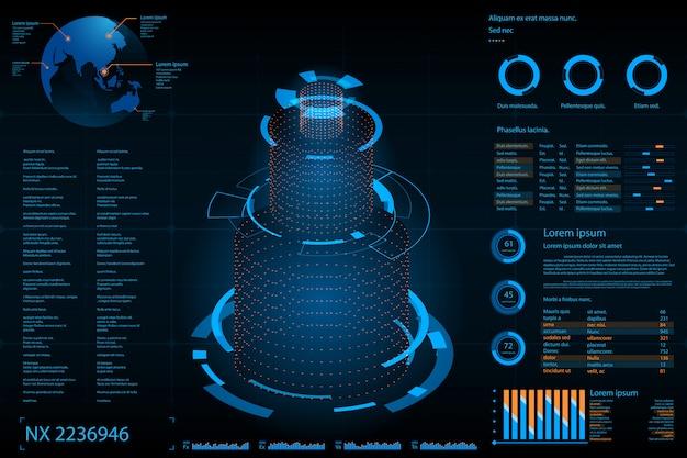 Futurystyczny abstrakcjonistyczny tło. przyszłe tło koncepcja tematu. pulpit nawigacyjny danych, wykres, koncepcja cyfrowego panelu