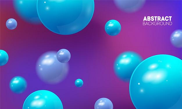 Futurystyczny abstrakcjonistyczny tło z latać 3d piłki. wektorowa ilustracja glansowane sfery.