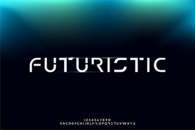 Futurystyczny, abstrakcyjna futurystyczna czcionka alfabetu z tematem technologii. nowoczesny minimalistyczny projekt typografii