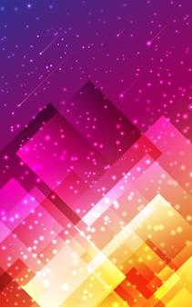 Futurystyczny abstrakcyjne tło geometryczny pionowy kształt wielokąta fioletowy różowy żółty wzór.