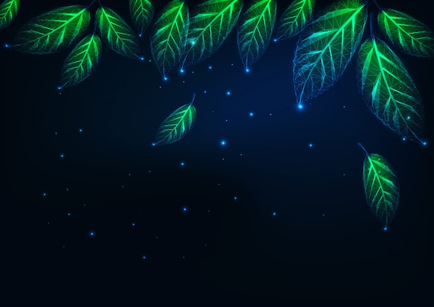 Futurystyczny abstrakcyjny naturalny krajobraz w nocy baner ze świecącymi niskimi wielokątnymi zielonymi liśćmi