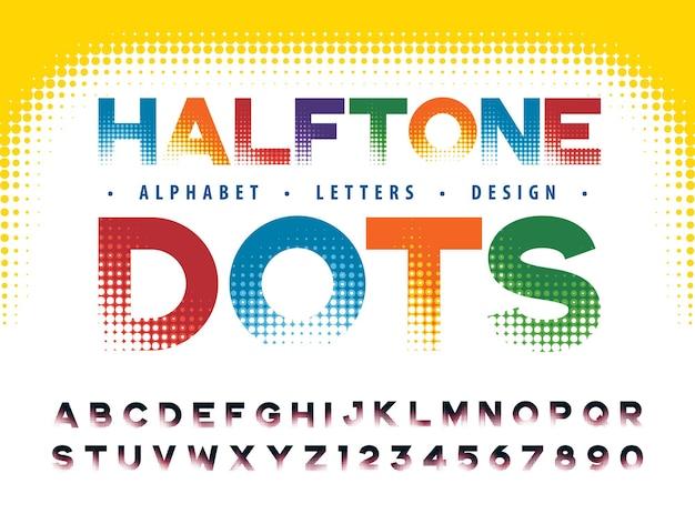 Futurystyczny alfabet litery i cyfry kropki półtonów czcionki efektów półtony kropkowane styl zanikania
