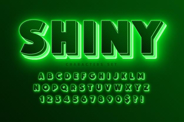 Futurystyczny alfabet science-fiction, dodatkowa świecąca przestrzeń, zestaw kreatywnych postaci.