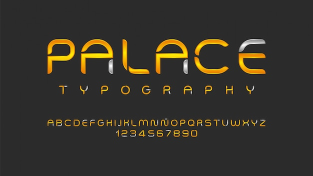 Futurystyczny alfabet w złotym kolorze