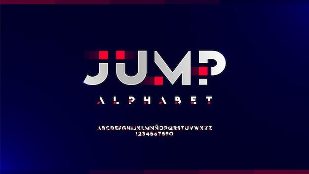 Futurystyczny alfabet z błyszczącymi efektami