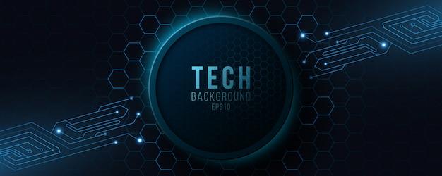 Futurystyczny baner hi-tech z obwodem komputera.