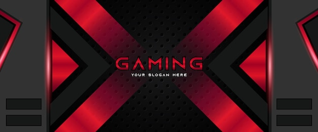 Futurystyczny czerwony i czarny nagłówek do gier szablon banera mediów społecznościowych