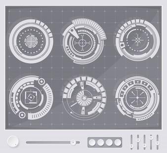 Futurystyczny dotykowy interfejs użytkownika tła HUD.