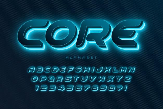 Futurystyczny dynamiczny alfabet, dodatkowa świecąca czcionka.
