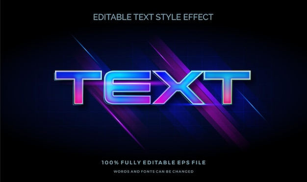 Futurystyczny efekt jasnego koloru tekstu w stylu tekstu. edytowalna czcionka
