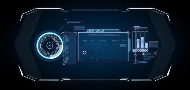 Futurystyczny ekran interfejsu hud. tytuły objaśnień cyfrowych. hud ui gui