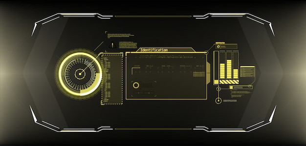 Futurystyczny ekran interfejsu koła. abstrakcyjny styl na niebieskim tle.