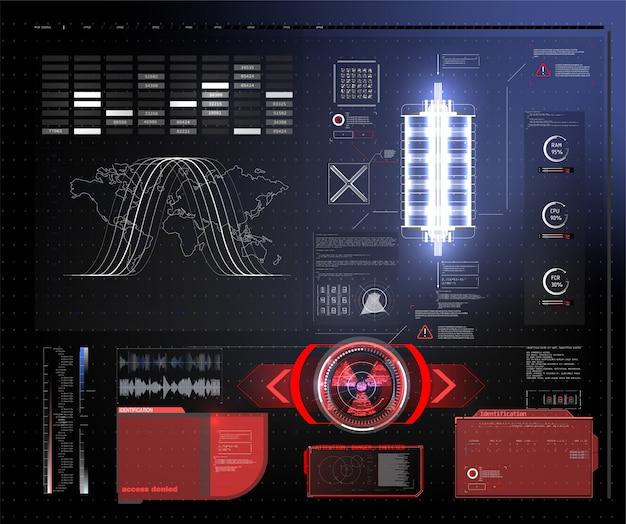 Futurystyczny ekran technologii hud. widok taktyczny sci-fi vr dislpay. interfejs użytkownika hud. futurystyczny wyświetlacz head up vr. ekran technologii rzeczywistości rzeczywistej.